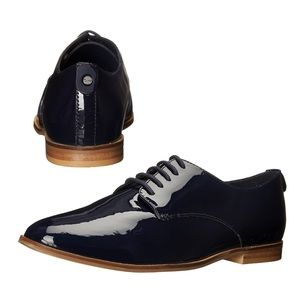 Dune navy blue patent Flossy oxford lace loafers